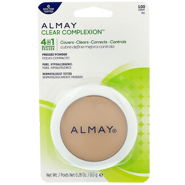 Almay, Пресованная пудра Clear Complexion, 100, светлая, 0,28 унц. (8 г) (Discontinued Item)