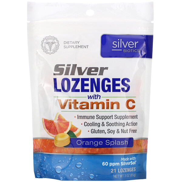 Silver Biotics, Silver Lozenges, 60 PPM SilverSol, Orange Splash, 21 Lozenges
