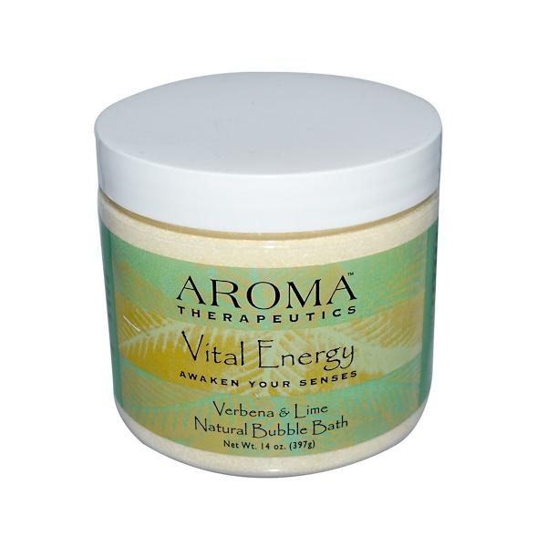 Abra Therapeutics, Натуральная пена для ванн, жизненная энергия, Вербена и Лайм 14 унции (397 г) (Discontinued Item)