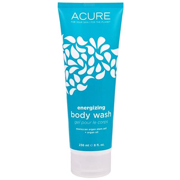 Acure, Гель для душа, стимуляция роста клеток, с облепихой + CoQ10, 8 жидких унций (236 мл) (Discontinued Item)