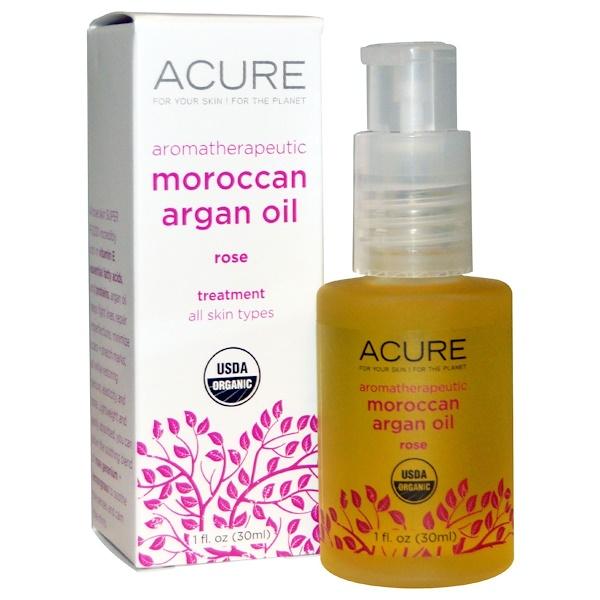 Acure, Aromatherapeutic Moroccan Argan Oil, Rose, 1 fl oz (30 ml) (Discontinued Item)