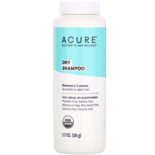 Acure, Dry Shampoo, Brunette to Dark Hair, Rosemary & Cocoa, 1.7 oz (58 g)