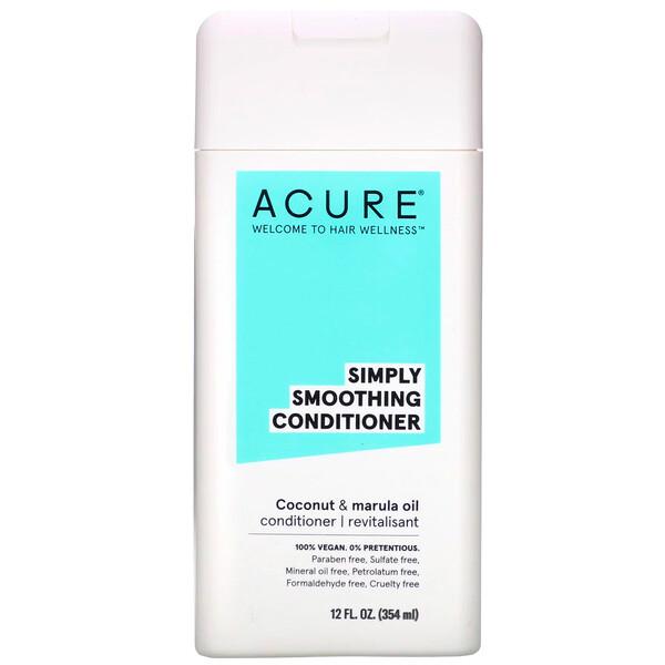 Acure, Разглаживающий кондиционер, кокосовое и маруловое масло, 354мл (12жидких унций) (Discontinued Item)