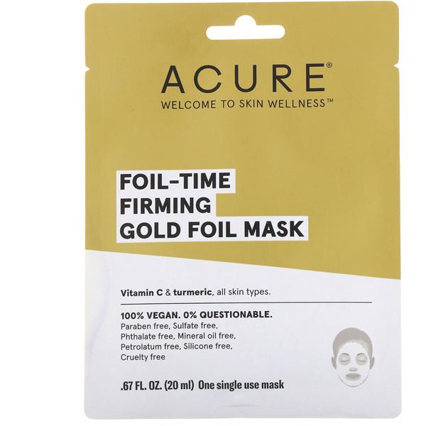 Foil-Time, укрепляющая маска из золотой фольги, 1 одноразовая маска, 0,67 ж. унц. (20 мл)