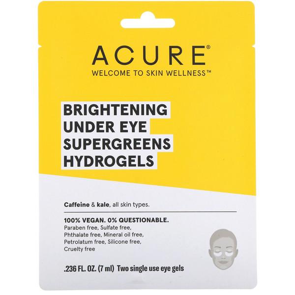 SuperGreens, осветляющие одноразовые гидрогелевые патчи для глаз, 2 шт по 0,236 ж. унц. (7 мл)
