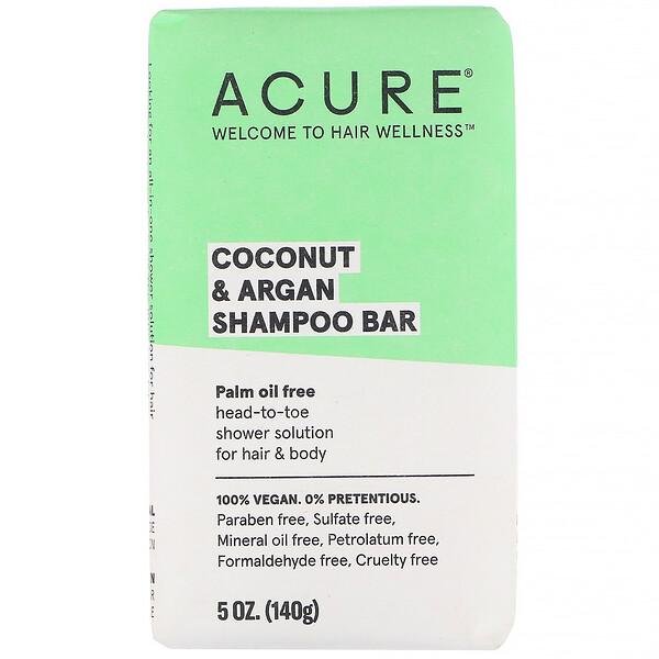 Acure, Твердый шампунь с кокосом и арганой, 140г (5унций)