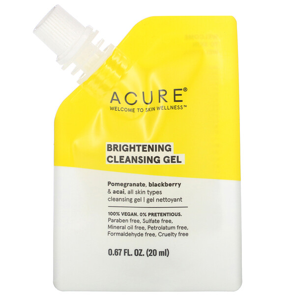 Acure, Brightening Cleansing Gel, 0.67 fl oz (20 ml)