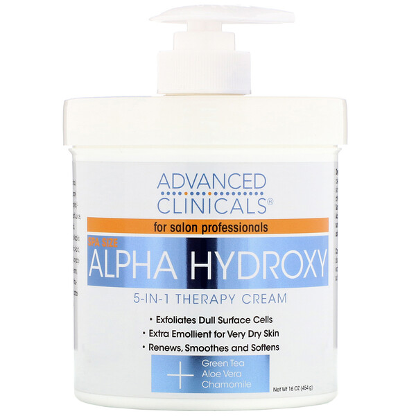 Advanced Clinicals, Alpha Hydroxy, 5-in-1 Therapy Cream, 16 oz (454 g)