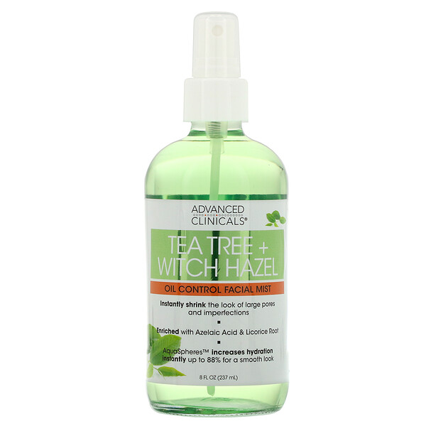 Advanced Clinicals, Tea Tree + Witch Hazel, Oil Control Facial Mist, 8 fl oz (237 ml)