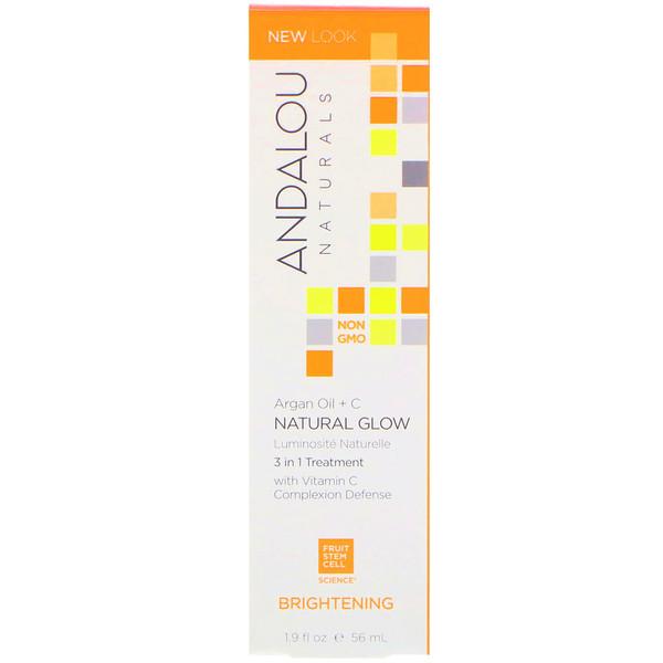 Andalou Naturals, Естественное свечение, 3 в 1 Лечение, Аргана масло + C, осветление, 1,9 жидких унций (56 мл) (Discontinued Item)