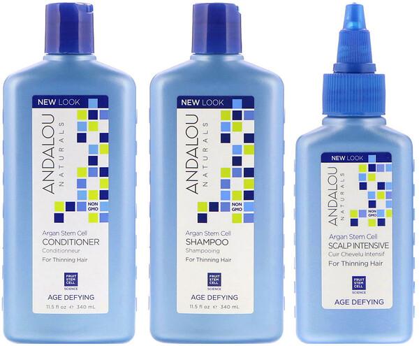Стволовые клетки аргании, система для редеющих волос, антивозрастная, набор из 3 предметов