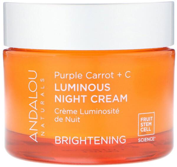 Andalou Naturals, Ночной крем для придания сияния коже, фиолетовая морковь и витамин C, 50 мл (1,7 жидкой унции)