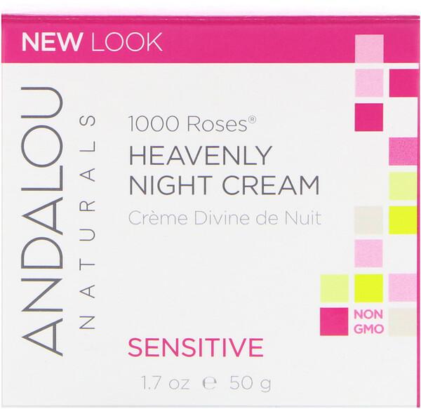 Божественный ночной крем для чувствительной кожи, 1000 роз, 1.7 жидких унций (50 мл)