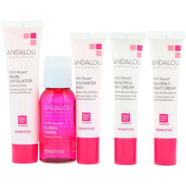 Andalou Naturals, 1000 Roses, начальный набор, для чувствительной кожи, набор из 5 продуктов
