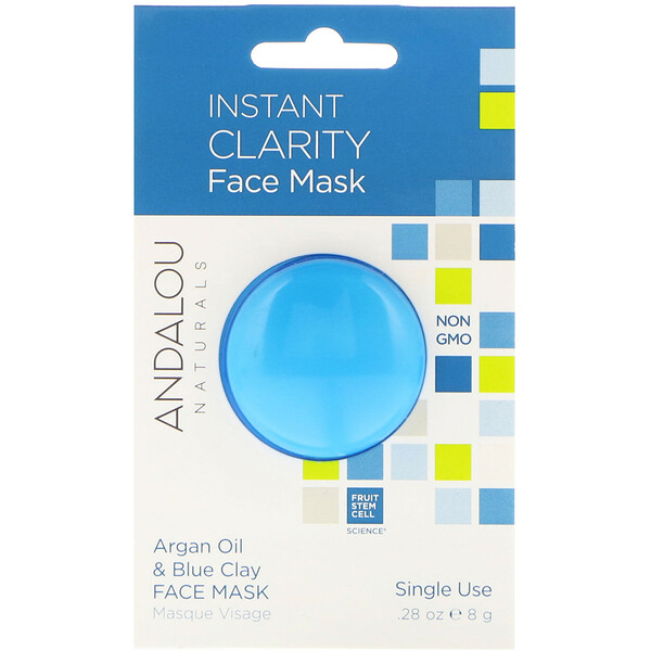 Мгновенное очищение, маска для лица, масло арганы и голубая глина, 0,28 унции (8 г)