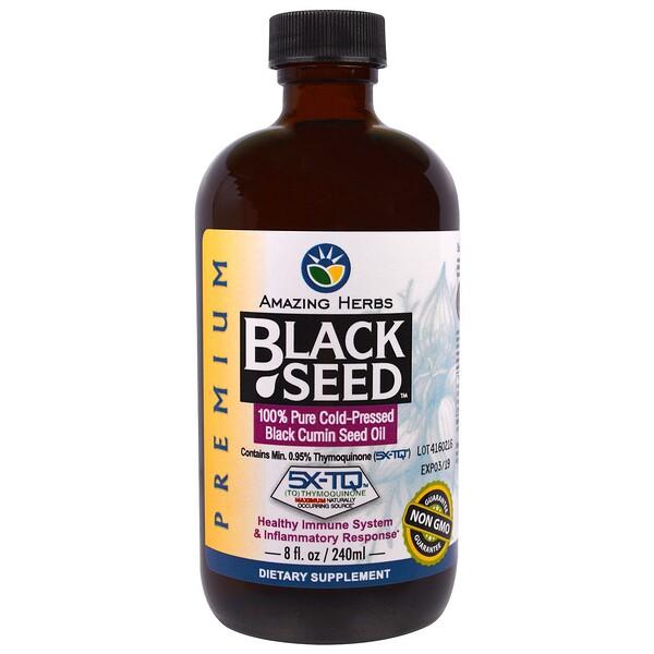 Amazing Herbs, Black Seed, 100% чистое масло семян черного тмина холодного отжима, 240мл