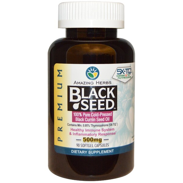 Amazing Herbs, Black Seed, 500мг, 90гелевых капсул