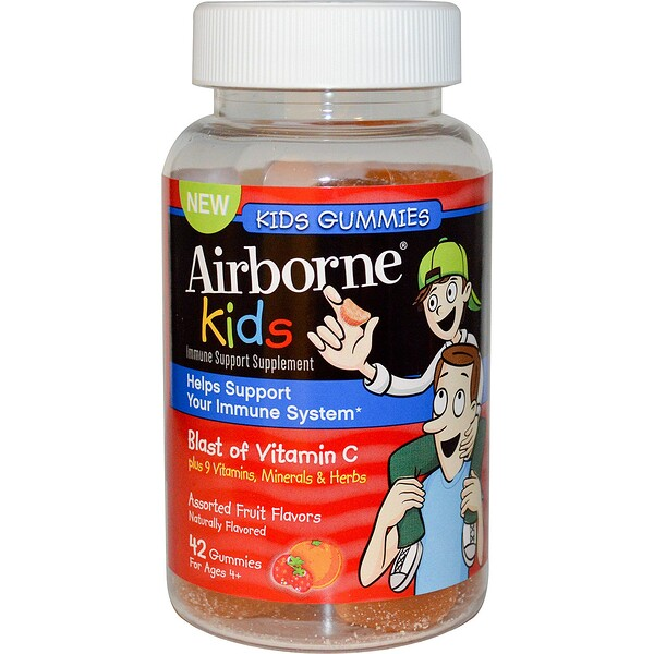 AirBorne, Kids, Blast of Vitamin C,  For Ages 4+, Assorted Fruit Flavors, 42 Gummies (Discontinued Item)