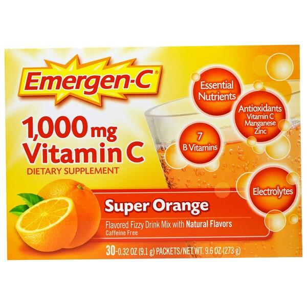Super Orange, витаминС, 1000мг, апельсин, 30пакетиков, 9,1г (0,32 унции) каждый