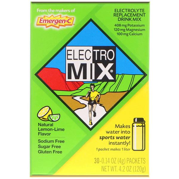 Electro Mix, порошок для приготовления напитка для пополнения запаса электролитов, натуральный вкус лимона и лайма, 30 пакетиков весом 4 г (0,14 унции) каждый