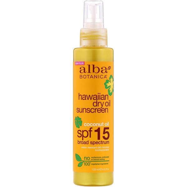 Alba Botanica, Hawaiian Dry Oil Sunscreen Coconut Oil, SPF 15, 4.5 fl oz (133 ml)