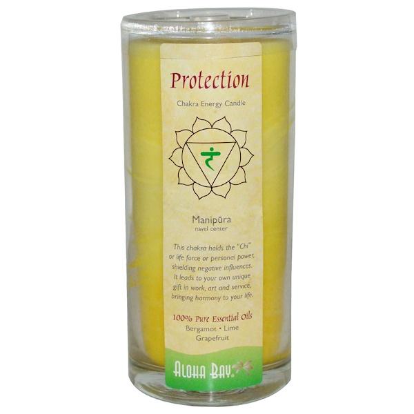 Aloha Bay, Чакральная энергетическая свеча, защита, желтая, 11 унций, 1 свеча (Discontinued Item)