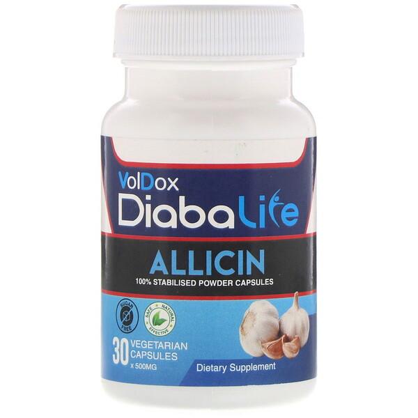 Allimax, Diabalife, аллицин, 500мг, 30вегетарианских капсул