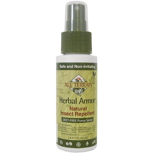 Herbal Armor, средство, отпугивающее насекомых, помповый спрей без ДЭТА, 2,0 жидких унции (60 мл)