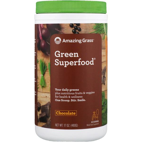 Amazing Grass, Green Superfood, шоколадный сухой напиток, с какао, 17 унций (480 г)