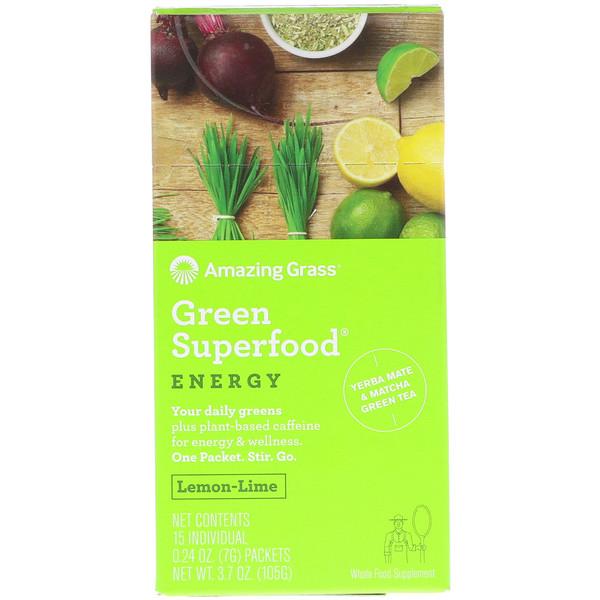 Amazing Grass, Зеленый суперпродукт, энергия, вкус лимона и лайма, 15 пакетиков в индивидуальной упаковке весом по 7 г (0.24 oz) (Discontinued Item)