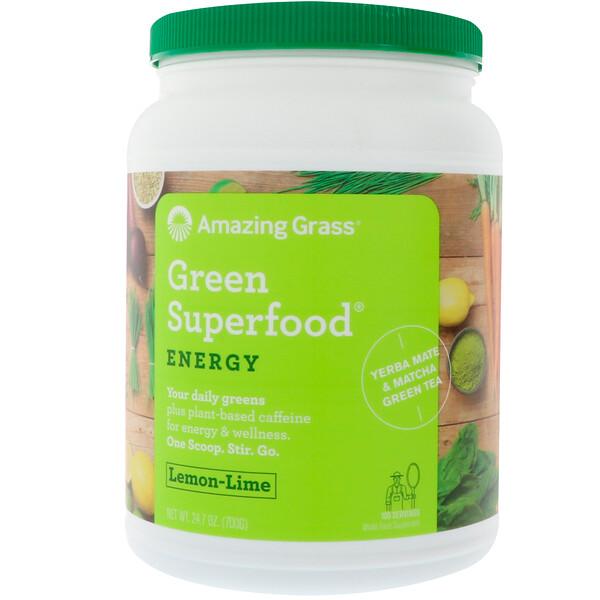 Amazing Grass, Green Superfood для повышения уровня энергии, лимон и лайм, 700 г (1,5 фунта)