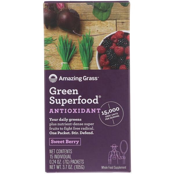 Зеленый суперпродукт, антиоксидант, сладкая ягода, 15 пакетиков в индивидуальной упаковке весом по 7 г (0.24 oz)