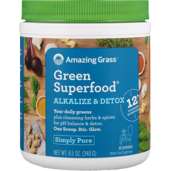Amazing Grass, Green Superfood, добавка для снижения кислотности и выведения токсинов, 240г (8,5унции)