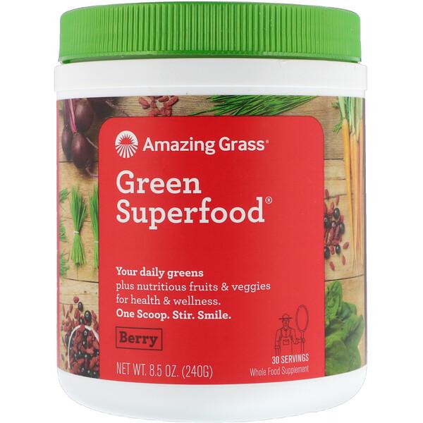 Amazing Grass, Green Superfood®, смесь из суперпродуктов с ягодным вкусом, 240 г (8,5 унции)