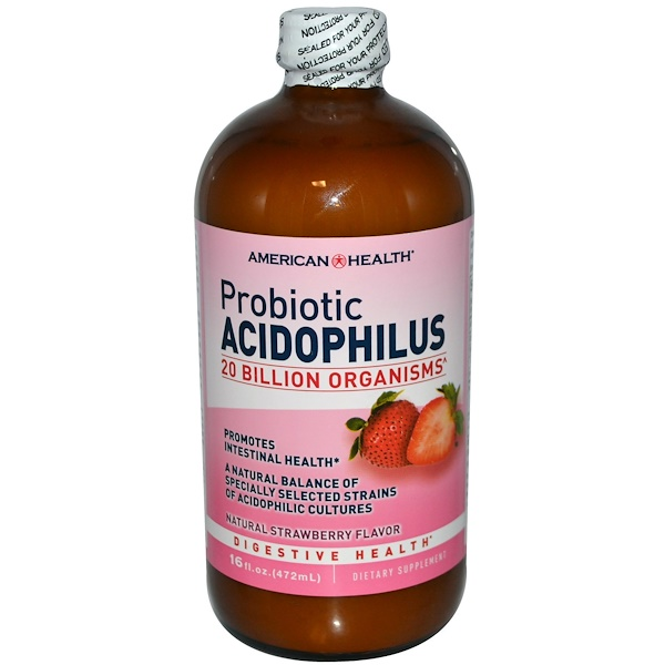 American Health, Пробиотик ацидофилус с натуральным клубничным вкусом, 472 мл (Discontinued Item)