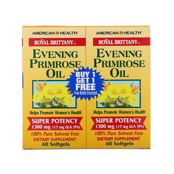Royal Brittany, масло первоцвета вечернего, 1300 мг, 2 флакона, 60 мягких таблеток в каждом