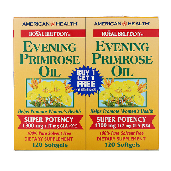 Royal Brittany, масло примулы вечерней (EPO), 1300 мг, 2 флакона, 120 желатиновых капсул в каждом флаконе