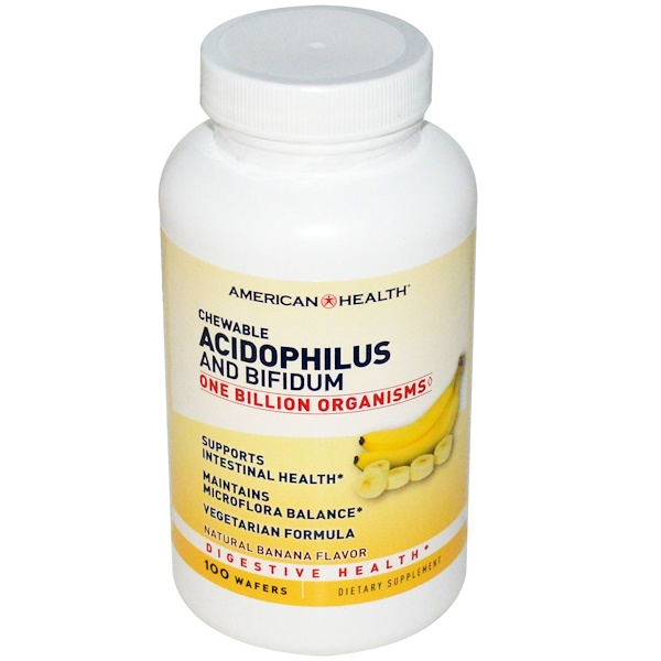 American Health, Chewable Acidophilus and Bifidum, Натуральный вкус банана, 100 пастилок (Discontinued Item)