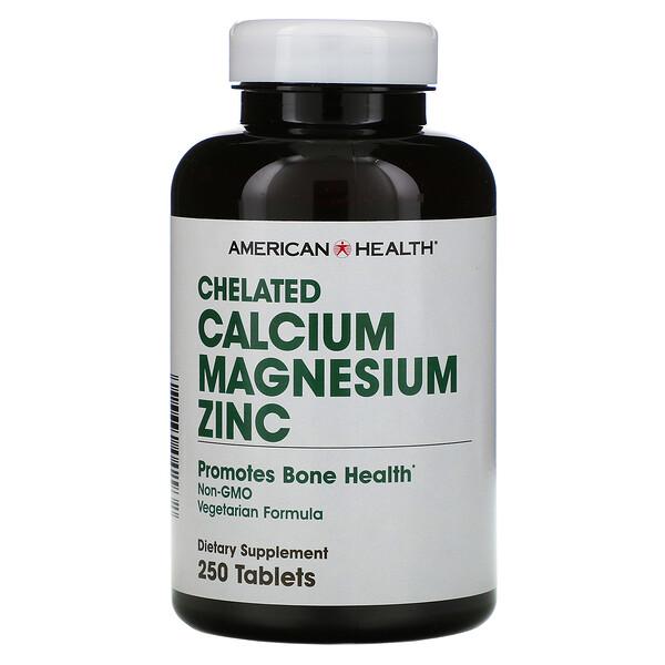 American Health, Chelated Calcium Magnesium Zinc, 250 таблеток