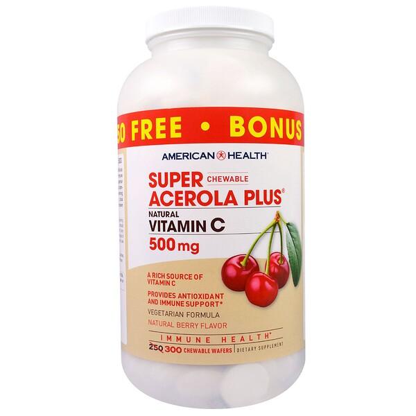 American Health, Пищевая добавка «Супер жевательная ацерола плюс», со вкусом натуральных ягод, 500 мг, 300 жевательных пластинок