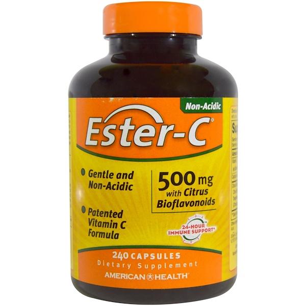 American Health, Ester-C, 500 мг, с цитрусовыми биофлавоноидами, 240 капсул