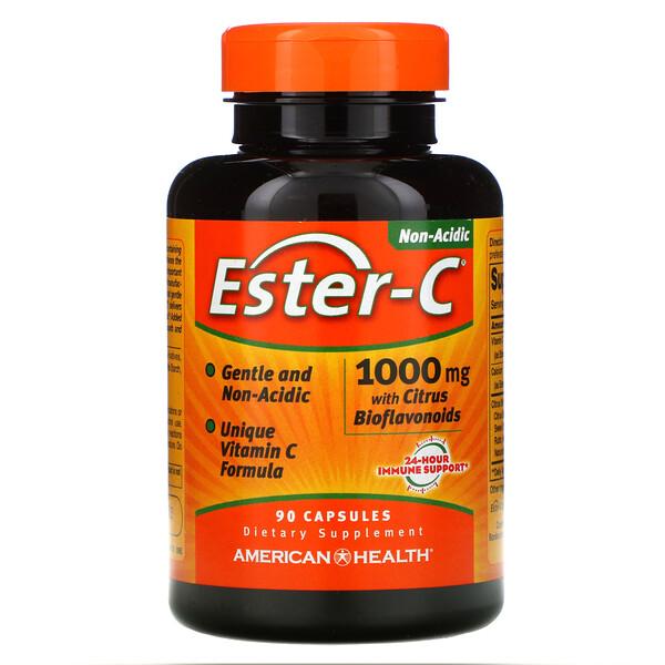 American Health, Ester-C с цитрусовыми биофлавоноидами, 1000мг, 90капсул