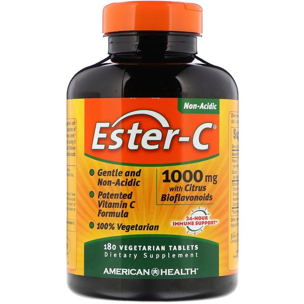 American Health, Ester-C с цитрусовыми биофлавоноидами, 1000 мг, 180 вегетарианских таблеток