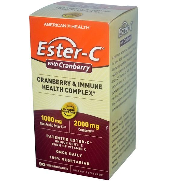 American Health, Ester-C с клюквой и комплексом для поддержки иммунитета, 90 вегетарианских таблеток