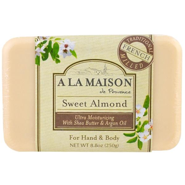 A La Maison de Provence, Мыло для рук и тела (твердое), сладкий миндаль, 8,8 унций (250 гр) (Discontinued Item)
