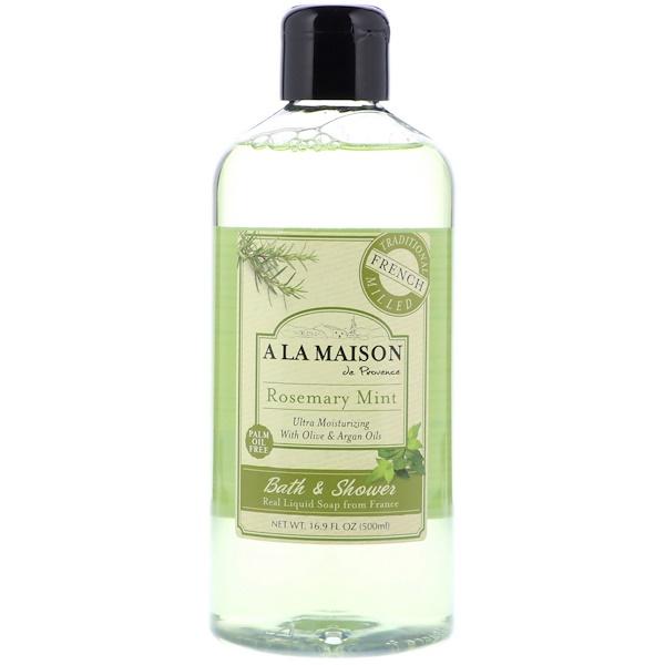 A La Maison de Provence, Жидкое мыло для ванны и душа, Розмарин и мята, 16,9 ж. унц.(500 мл)
