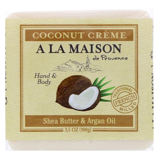 A La Maison de Provence, Кусковое мыло для рук и тела, Кокосовый крем, 3,5 унц. (100 г) (Discontinued Item)