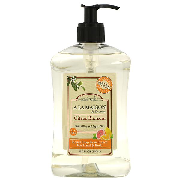 A La Maison de Provence, Жидкое мыло для рук и тела, цитрусовый цветок, 16,9 ж. унц. (500 мл)