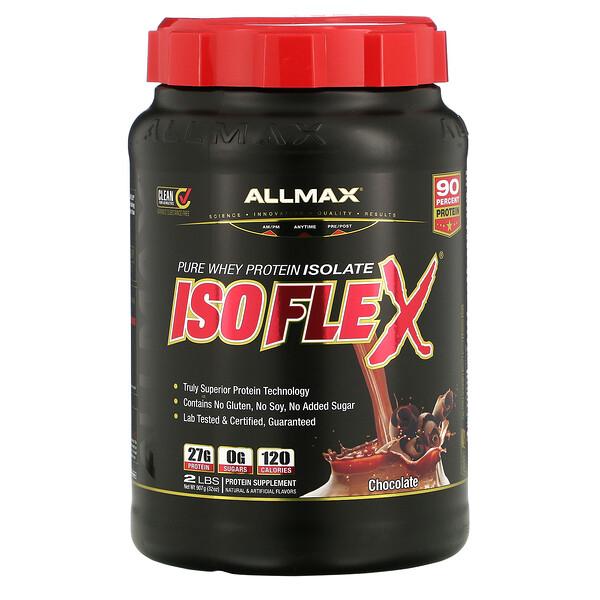 Isoflex, чистый изолят сывороточного протеина (фильтрация ИСП частицами, заряженными ионами), со вкусом шоколада, 907г (2фунта)