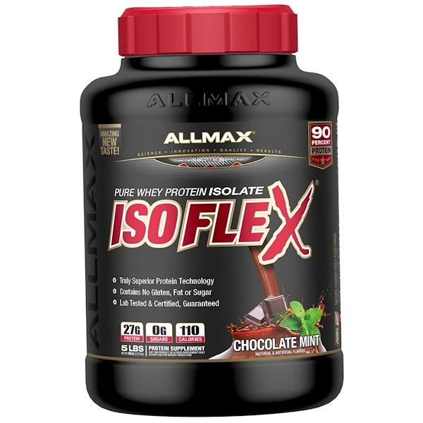 Isoflex, чистый изолят сывороточного белка (фильтрация ИСБ частицами, заряженными ионами), со вкусом шоколада и мяты, 2,27кг (5фунтов)